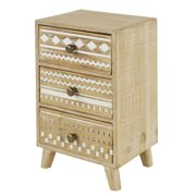 """Decmode 8"""" x 12"""" Tall Decorative Whitewashed Wood Jewelry Box w/ 3 Drawers ft. Hand-Carved Boho Pattern"""