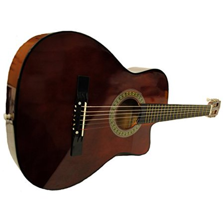 Full Size Acoustic Country/Bluegrass Cutaway Guitar with Gig Bag - Walnut
