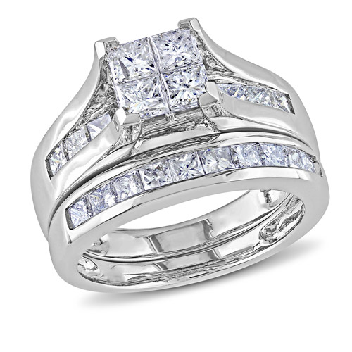 Miabella 2 Carat T.W. Princess-Cut Diamond 14kt White Gold Bridal Set