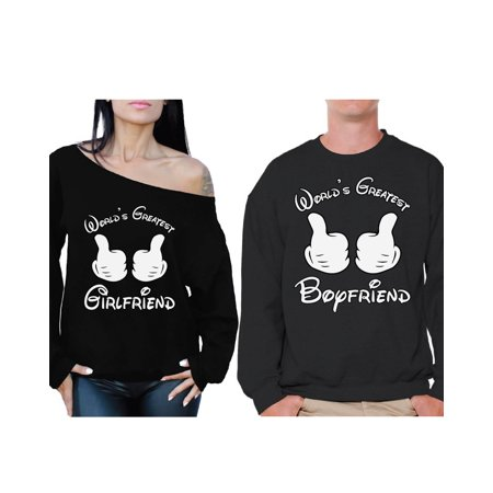 Awkward Styles Boyfriend Girlfriend Couple Sweatshirts World's Greatest Girlfriend Off the Shoulder Sweatshirt World's Greatest Boyfriend Sweatshirt Valentines Gift for Boyfriend Gift for Girlfriend - Greatest Couples