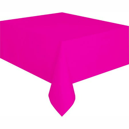 Neon Pink Plastic Party Tablecloth, 108 x 54in for $<!---->