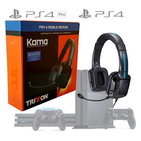 TRITTON Kama Stereo Headset Headset For Playstation 4 PS4 PRO and PS4, Live Multiplayer Chat, Inline Volume and Chat Controls, Adjustable Boom Mic and Ear Cups, (Best Tritton Headset For Ps4)