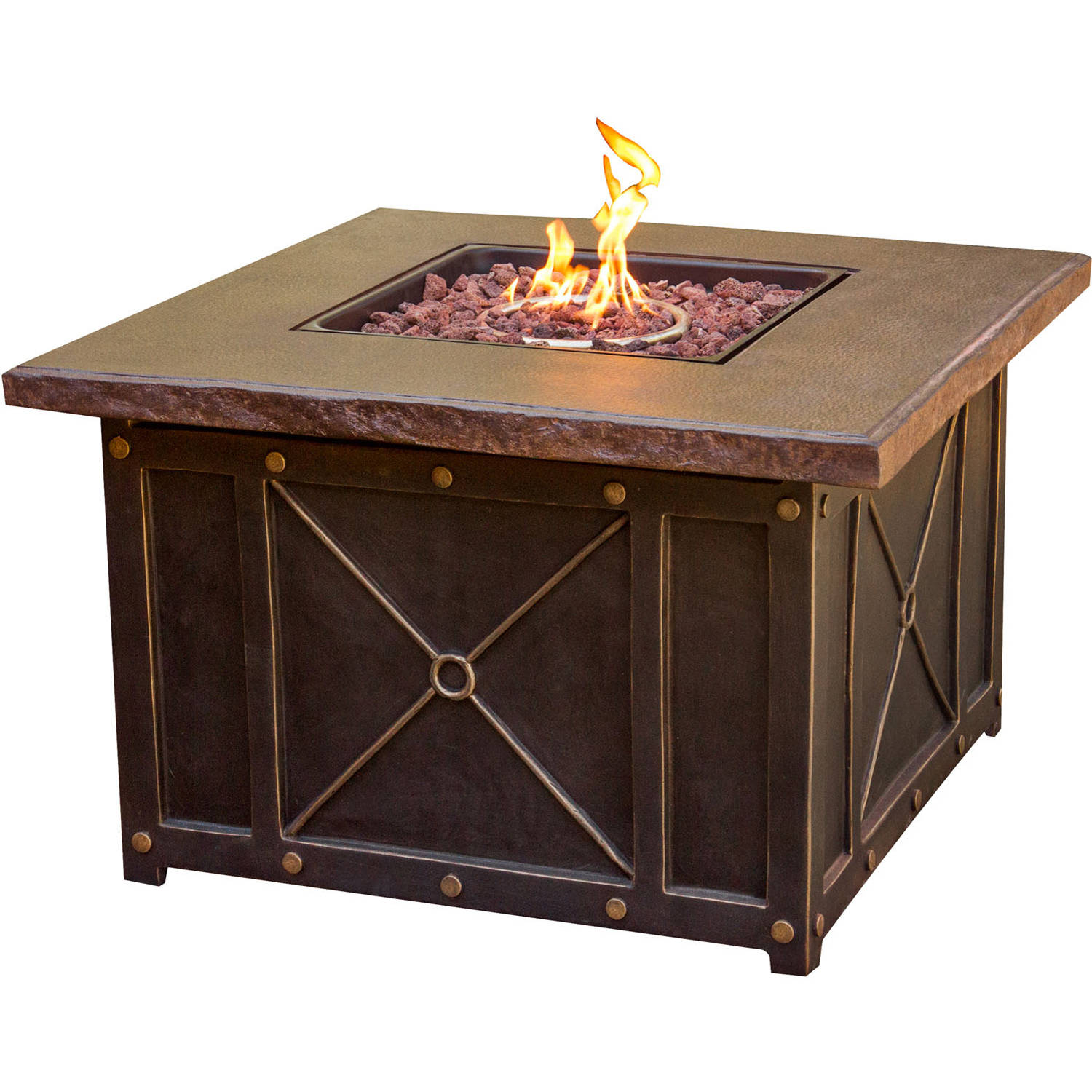 "Cambridge 40"" Square Gas Fire Pit with Durastone Top"