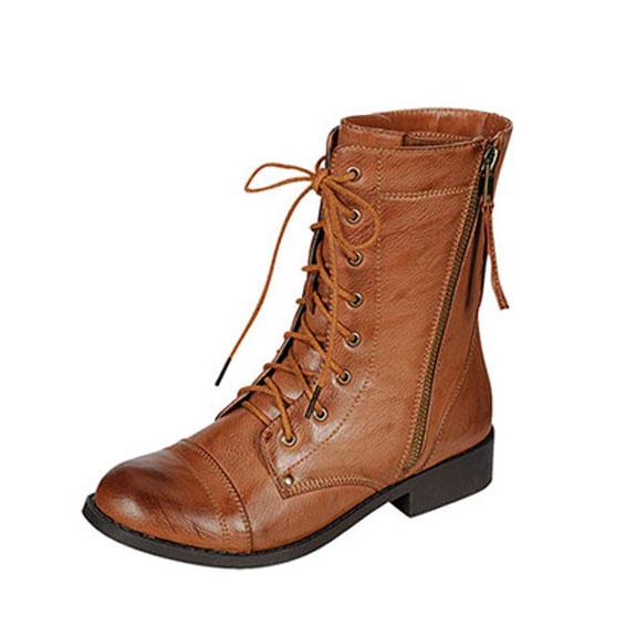 Bamboo Women's Dacia-01 Combat Boots Military Stlye Lace Up