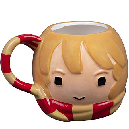 Harry Potter Hermoine Figural Ceramic Coffee Mug - Cute Chibi Design with Gryffindor Scarf Handle - 24 (Pottery Figural)