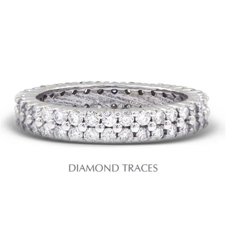 14K White Gold Prong Setting 2.51 Carat Total Natural Diamonds Two Row Band Eternity Ring