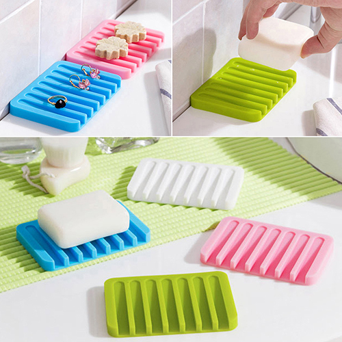 Moderna Colorful Kitchen Bathroom Silicon Flexible Soap Dish Storage Holder Soapbox Tray