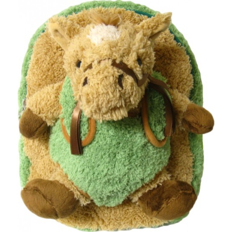 Kids Green Race Horse Pony Animal Plush Toddlers Backpack