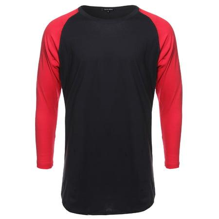 FashionOutfit Men's Basic Lightweight Baseball Raglan Shirt