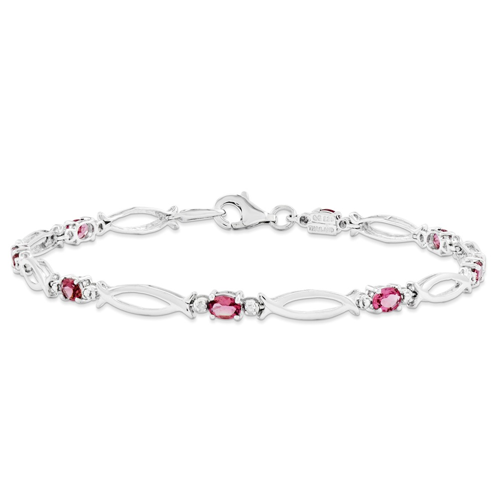 925 Sterling Silver Three Stone infinity Pink Tourmaline and Diamond Bracelet (1.053cttw) by