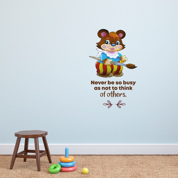 So Busy Paint Animal Life Quote Cartoon Quotes Decors Wall Sticker Art Design Decal For Girls Boys Kids Room Bedroom Nursery Kindergarten Home Decor Stickers Wall Art Vinyl Decoration 10x8 Inch