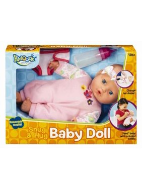 Kidoozie Snug and Hug Baby Doll - Includes Removable Diaper and a Bottle - Ages 12 Months and Up