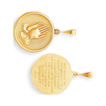 Leslies Fine Jewelry Designer 10k Yellow Gold Praying Hands Reversible with Serenity Prayer (22x35mm) Pendant Gift