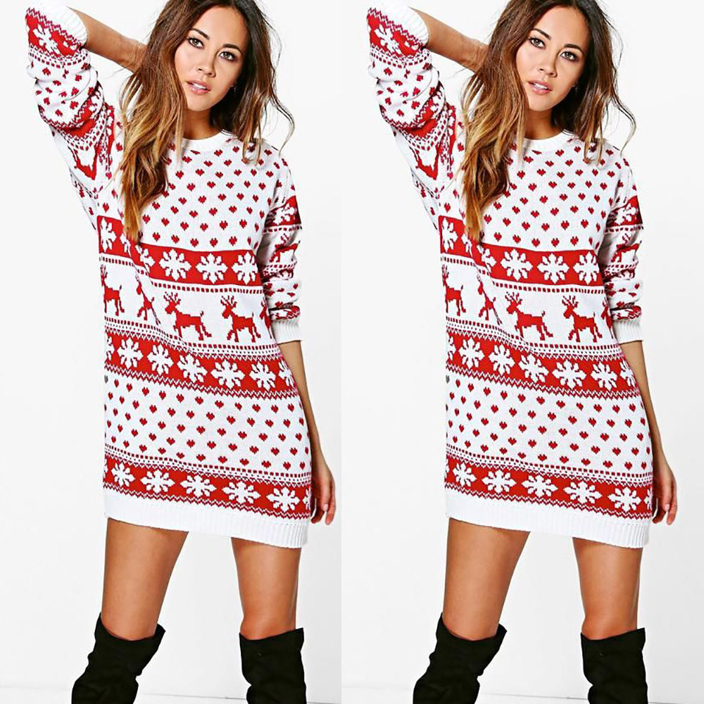 Mosunx Women Xmas Christmas Print Long Sleeve Mini Dress