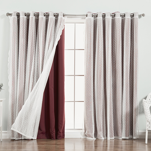Burgundy Wide Dot Lace 80 x 96 In. Blackout Window Treatments, Set of Two by