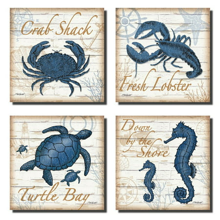 Blue Fabric Poster (4 Under the Sea Creatures Crab Seahorse Turtle and Lobster; Coastal Decor; Four 12X12in Unframed Paper Posters.)