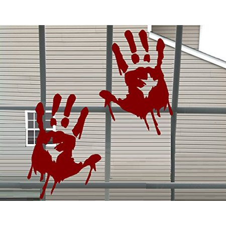 Decal ~ Bloody Hand Prints ~ Wall or Window Halloween Decal, each print is 5