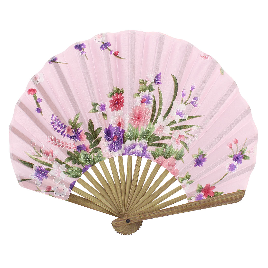 Party Decor Bamboo Ribs Fabric Blooming Floral Pattern Folding Hand Fan Pink