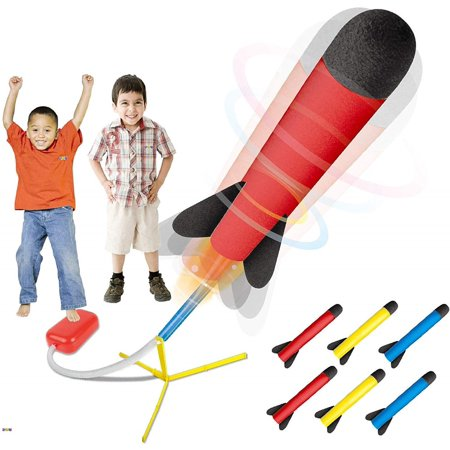 Multiple Rocket Launcher - Toy Rocket Launcher - Jump Rocket Set Includes 6 Rockets - Play Rocket Soars Up to 100 Feet - Missile Launcher Best Gift for Boys and Girls - Air Rocket Great for Outdoor Play - Original