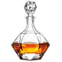 ShopoKus European Style Glass Whiskey Decanter & Liquor Decanter with Glass Stopper, 30 Oz.- With Magnetic Gift Box - Aristocratic Exquisite Diamond Design - Glass Decanter for Alcohol Bourbon Scotch