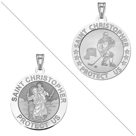 Ice Hockey - Saint Christopher Doubledside Sports Religious Medal 3/4 Inch Sterling Silver