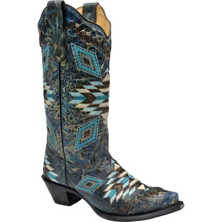 - Corral Women's Distressed Turquoise Aztec Woven Cowgirl Boot Snip Toe - E1008