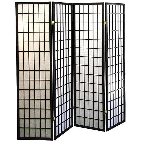 4-Panel Shoji Screen Room Divider - Black