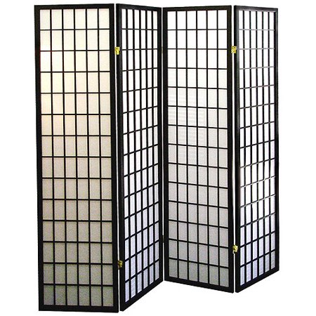 4-Panel Shoji Screen Room Divider - Black