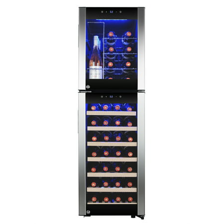 AKDY 44-Bottle Touch Panel Dual Zone Wood Shelf Freestanding Compressor Wine