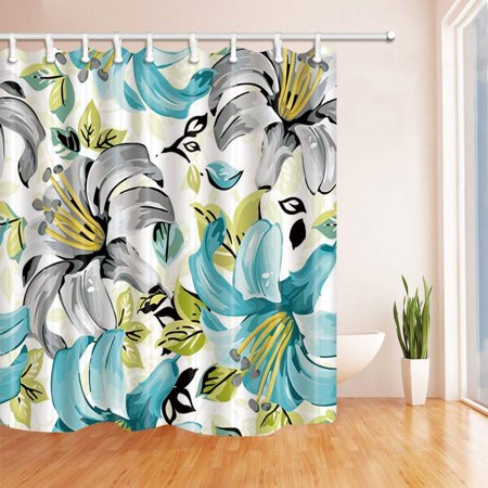 BPBOP Flower Decor Watercolor Tulips Gray Blue Yellow Polyester Fabric Bathroom Shower Curtain 66x72 Inches