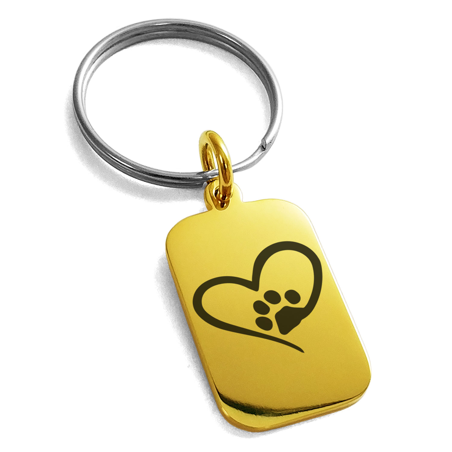 Stainless Steel Dog Paw Heart Engraved Small Rectangle Dog Tag Charm Keychain Keyring
