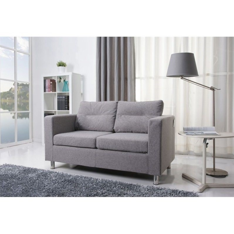 Gold Sparrow Detroit  Fabric Loveseat in Ash