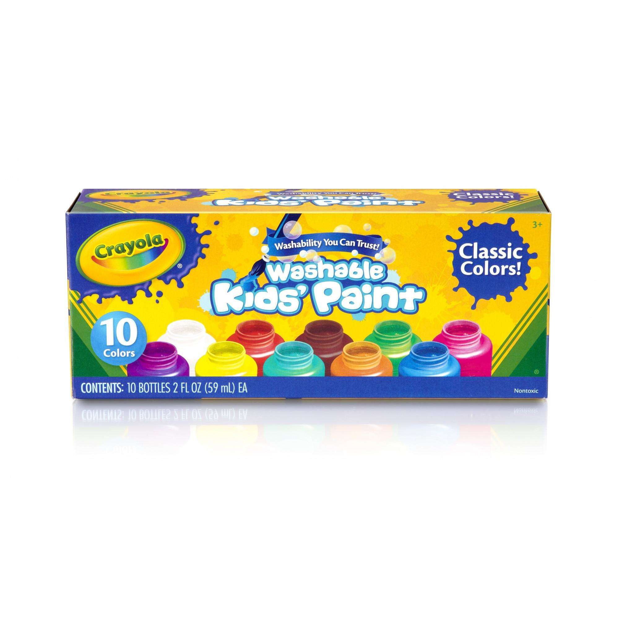 Crayola Washable Kids' Paints, Classic Colors, 10-Count, 2 oz.