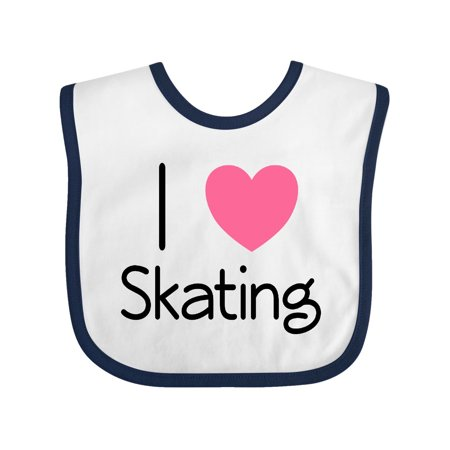 Roller Skate I Love Skating Baby Bib White/Navy One Size