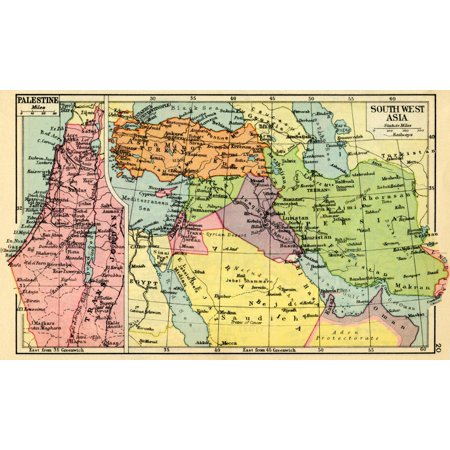 A 1930s map of Palestine left and south west Asia right Poster Print by  Hilary Jane Morgan Design Pics