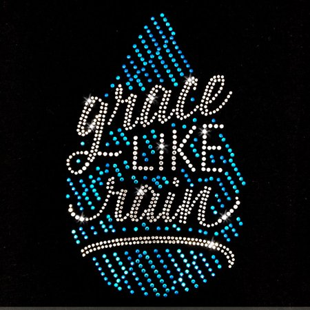 Grace Like Rain Cross Iron On Rhinestone Transfer - Halloween Rhinestone Transfers