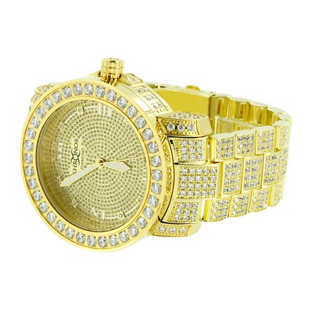 Iced Out Mens Watch 14K Gold Finish Genuine Diamond Dial Khronos Stainless Steel Back Roman Dial