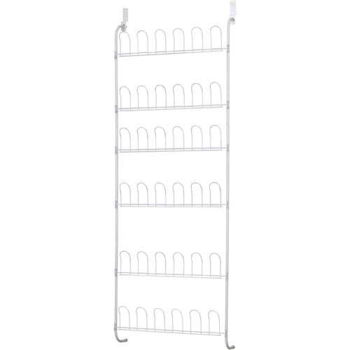 Household Essentials 18-Pair Over-the-Door White Wire Shoe Rack