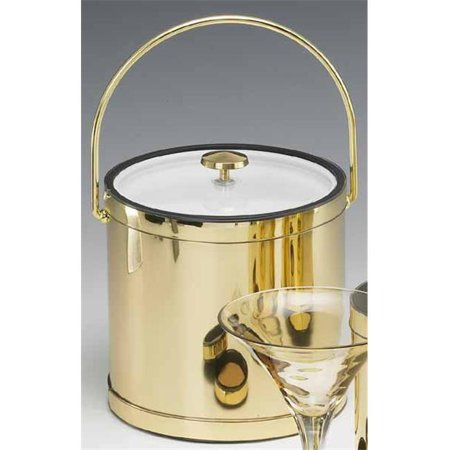 Mylar Polished Brass 3 Quart Ice Bucket with Bale Handle  Lucite Cover with Flat Knob