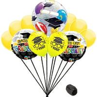 Hat off to the Graduate Grad Caps Bubble School Colors 10pc Balloon Pack