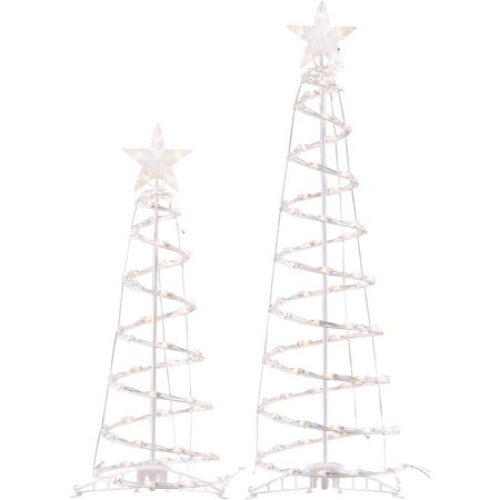 Holiday Time Light-Up Clear Spiral Trees, Set of 2, Indoor or Outdoor