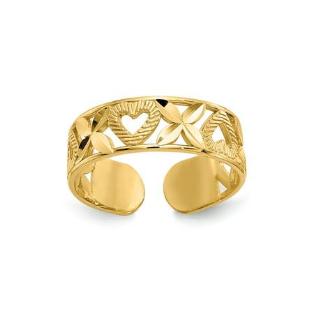 14K Yellow Gold Hugs and Hearts Adjustable Toe Ring