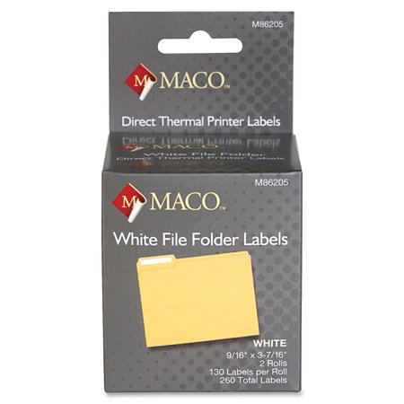 MACO Direct Thermal White File Folder Labels