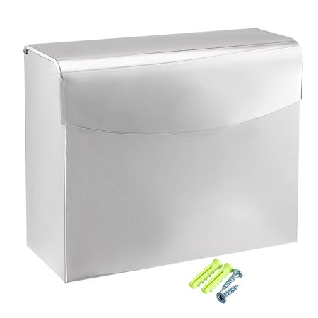 Uxcell 235mmx90mmx200mm Stainless Steel Glossy Wall-Mount Flip-up Paper Holder w Cover - image 6 of 6