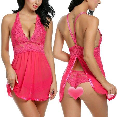 8dd7ec747 Women Sexy Lingerie Dress Babydoll V Neck Strap Hollow Lace Patchwork  Sleepwear Nightwear with Panty Caroj ...