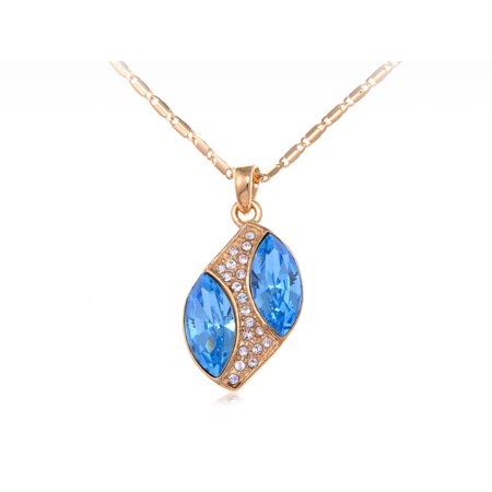 Swarovski Crystal Element Aquamarine Marquise Stones Leaf Pendant Necklace Aquamarine Swarovski Crystal Pendant