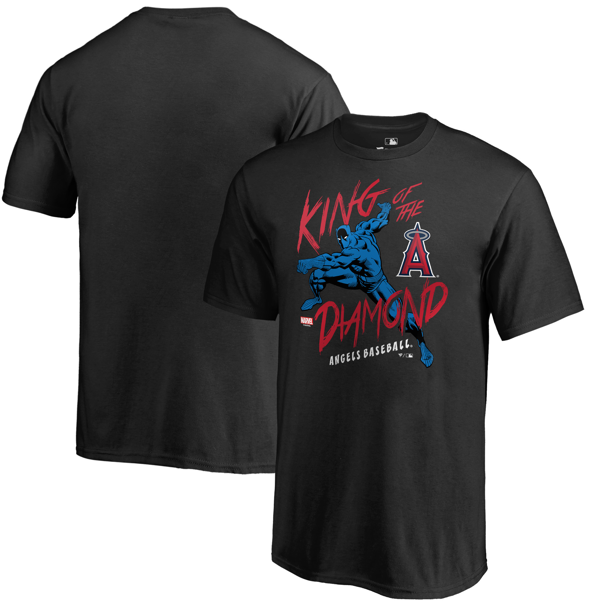 Los Angeles Angels Fanatics Branded Youth MLB Marvel Black Panther King of the Diamond T-Shirt - Black