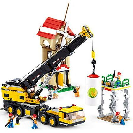 Sluban Construction City Series Building Blocks Educational Bricks Toy Kit (767 Piece) - Crane Truck](Construction Blocks)