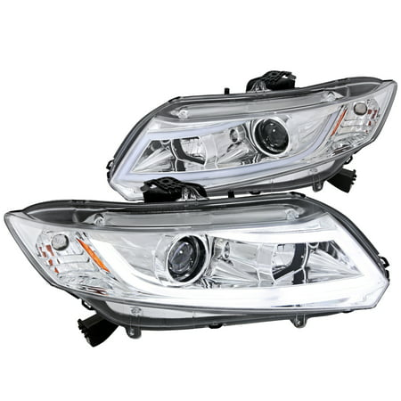 Spec-D Tuning 2012-2014 Honda Civic 2/4Dr Projector Headlights W/ New Led Light Bar 2011 2012 2013 2014 (Left + Right) Civic Projector Headlights Black Housing
