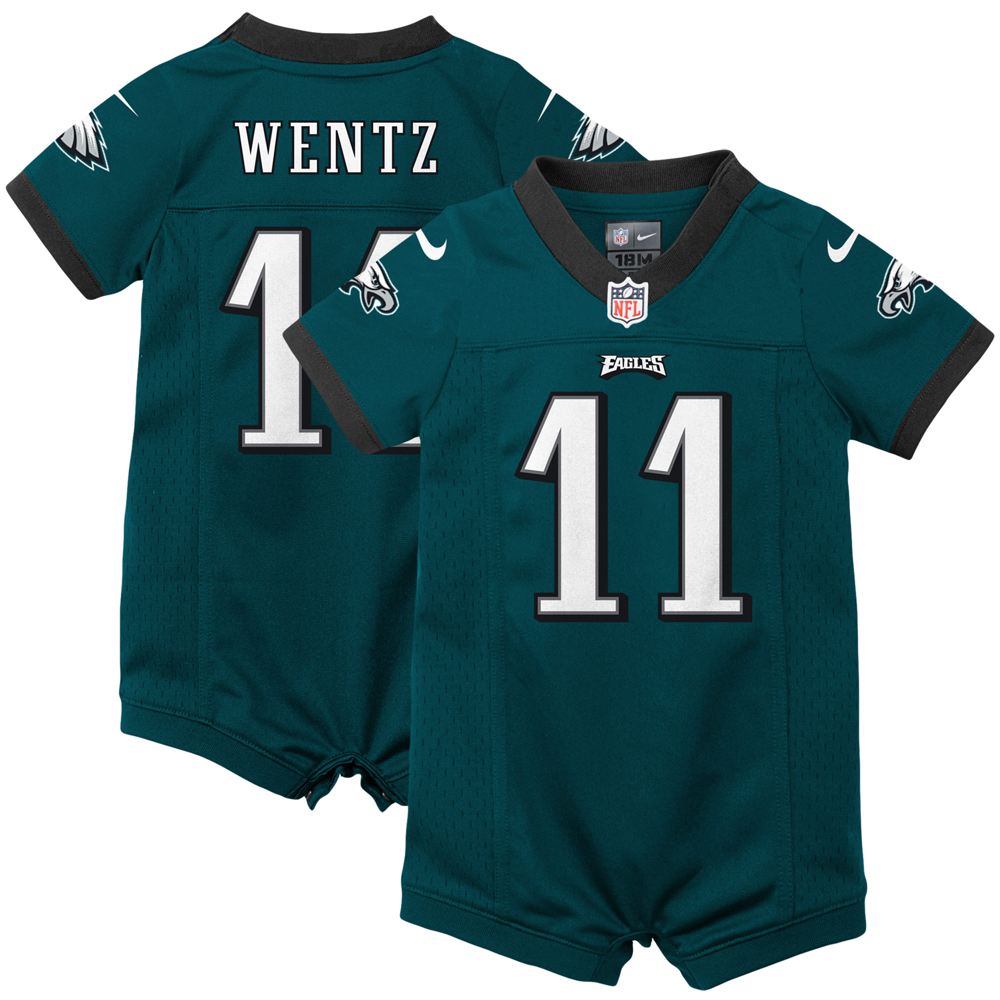 Carson Wentz Philadelphia Eagles Nike Infant Romper Jersey - Green